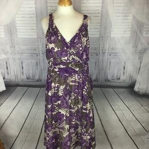 Chadwick's Purple Flower Sleeveless Midi Dress 14